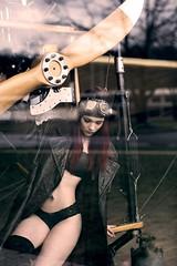 Woman & aircraft (Irena Rihova) Tags: young beautiful beauty plane aircraft propeller bra coat hair redhair model people woman portrait