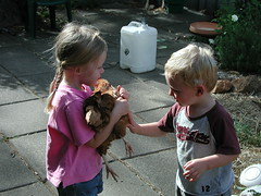 Lucy and Jack with chook (spelio) Tags: kids backyard garden drought lawn lucy more