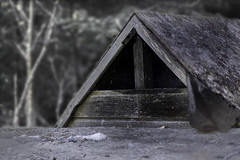 Le refuge (AlainC3) Tags: refuge extérieur outdoor blur flou noirblanc nb blackwhite bw batiments toit roof macro