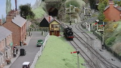 The Approach to Doug Dale Station. (ManOfYorkshire) Tags: doug dale dougdale station approach tracks lines railway train semaphore signal signals 3205 lms steam engine loco locomotive headshunt waiting duty service patcham brighton sussex show exhibition 2018 176 scale oogauge layout branchline mainlines tunnel signalbox