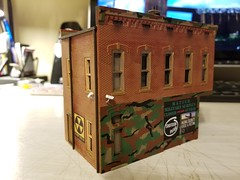 UNDER SURVEILLANCE (Set and Centered) Tags: ho scale rix products smalltown usa custom structure local business small model railroad railroading military surplus 187 johns place
