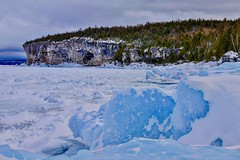 Blue Ice  Cave Point as seen from the shores of Storm Haven back country sites on Georgian Bay.  Bruce Peninsula National Park (Earthfly) Tags: blueice iamcanadian brucebeckons explorethebruce brucecounty brucepeninsula stormhaven georgianbay cavepoint brucepeninsulanationalpark