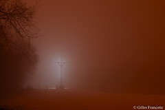 Cross in the fog (gillesfrancotte) Tags: 2019 awan aywaille belgium brouillard cwimont february nuit outdoor septroux campagne countryside dark extérieur field fog grass grassland landscape landschap longexposure lowlight meadow mist nature neige orange outside paysage plaine rural snow tree twilight winter