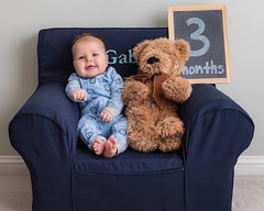 3 Months (zachary.locks) Tags: 3 adorable baby bear blue chair cute flash gabe happy monthly months photo sitting smile smiling son teddy three
