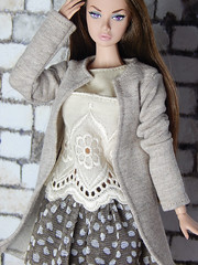 Sweetheart collection - beige long sleeved sweater cardigan (Levitation_inc.) Tags: ooak doll handmade dolls outfit fashion fashions levitation levitationfashion sweetheart spring 2019 royalty poppy parker barbie cute romantic