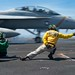 An EA-18G Growler launches from the flight deck of the aircraft carrier USS John C. Stennis (CVN 74)