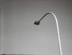 A parking lot light (yeah, I like these) (Matthew Paul Argall) Tags: hanimex108f fixedfocus 110 110film subminiaturefilm lomographyfilm blackandwhite blackandwhitefilm grainyfilm grainy parkinglotlight outdoorlight plasticlens cheaplens