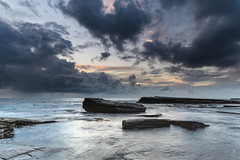 Clouds, Rock Ledge and Early Morning Seascape (Merrillie) Tags: daybreak theskillion nature australia terrigal sunrise morning newsouthwales rocks earlymorning nsw sea rocky ocean coast landscape dawn coastal waterscape outdoors seascape waves centralcoast water sky