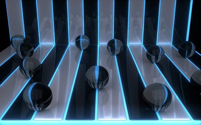 Обои digital art, 3d, шары, полосы картинки на рабочий стол, фото скачать бесплатно