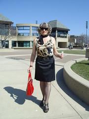 If I Am Looking As If I Am Proud To Be A Woman . . . (Laurette Victoria) Tags: skirt heels sunglasses purse animalprint milwaukee woman laurette