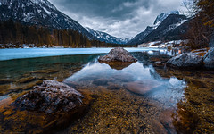 The Hintersee (agialopoulos) Tags: lila hintersee bavaria landscape landschaft lake rocks germany water clouds mountain mountains snow winter ice