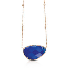 Asymmetrical Checkerboard Cut Clear Quartz Over Lapis Chain Stationed With Diamonds on 14k Rose Gold Necklace (diamondanddesign) Tags: asymmetricalcheckerboardcutclearquartzoverlapischainstationedwithdiamondson14krosegoldnecklace n6891lp 18k rose gold doves royal lapis necklaces 009 ct diamond clear quartz over front