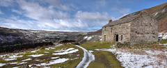 Landscape With Old Barn (cassidymike21) Tags: landscape barn winter snow nikon sky moor hills