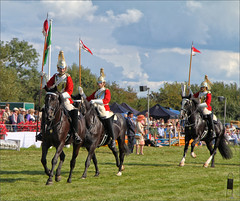 Lances and Pennants (meniscuslens) Tags: musical ride household cavalry bucks county show buckinghamshire aylesbury weedon lance armour armor soldier horse sky clouds grass