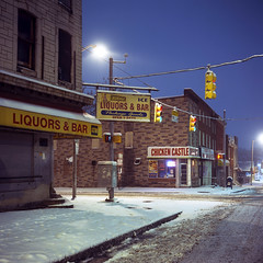 (patrickjoust) Tags: rolleiflex automat mxevs fujichrome t64 tlr twin lens reflex 120 6x6 medium format fuji chrome slide e6 color reversal expired tungsten balanced film cable release tripod long exposure night after dark manual focus analog mechanical patrick joust patrickjoust baltimore maryland md usa us united states north america estados unidos urban street city blue snow snowy chicken castle sign liquor bar corner store avenue package goods johnston square