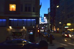 The Usual Hang (MPnormaleye) Tags: bar tavern neon sign lensbaby 35mm seeinanewway frisco downtown urban city moody shadows cars lights window utata