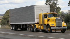 Yellow Power (3/3) (Jungle Jack Movements (ferroequinologist)) Tags: kenworth yellow ford f350 mack ecodyne baby sar k124 ken kenny kw k100 highway hauling haulin hume sydney 2019 yass classic historic vintage veteran hcvca vehicle run hp horsepower big rig haul haulage freight cabover trucker drive transport delivery bulk lorry hgv wagon nose semi trailer deliver cargo interstate articulated load freighter ship move roll motor engine power teamster tractor prime mover diesel injected driver cab wheel