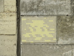Space Invader PA_1389 (tofz4u) Tags: paris streetart artderue invader spaceinvader spaceinvaders mosaïque mosaic tile pa1389 camo camouflage 92 hautsdeseine banlieue grandparis yellow jaune