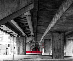 Canning Town Flyover (London Less Travelled) Tags: uk unitedkingdom britain england london city urban suburb suburban suburbia canningtown newham eastlondon flyover monochrome 2012 red concrete
