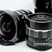 Close up shot of fisheye lens and 55mm lens