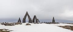 Arctic Henge (Heimskautsgerðið) (Dell's Pics) Tags: yellow raufarhöfn iceland arctic henge stone circle monument olympus snow heimskautsgerðið