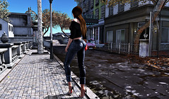 #285-2 (dolceluna_myoo Photographer) Tags: woman hairs jeans ison sweater ddl miu spring sl secondlife avatar blogger opted moda portraits omage pictures city poses bag optedout