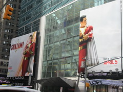 IMG_4472 (Brechtbug) Tags: shazam billboard 42nd street new captain marvel the big red cheese poster ad nyc 2019 times square movie billboards york city work working worker paint painting advertisement dc comic comics hero superhero alien dark knight bat adventure national periodicals publication book character near broadway shield s insignia blue forty second st fortysecond 03232019 lightning flight flying march