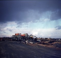 Building bridges on the A12 1970's Photo's by Alf Jefferies (Photos by Alf Jefferies) Tags: 1970s road bridge building a12 vintage lorries cement mixers people highway construction foden st ives sand gravel photos by alf jefferies mydadsoldphotos