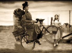 Consider this: If Toto had been a giant American Mastiff, Dorothy would have had the last laugh. The old crone was going nowhere. (Fotofricassee) Tags: dog toto bicycle farms witch dorothy kansas oz