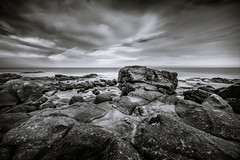 it's still rock (Port View) Tags: fujixe3 cottagecove novascotia canada cans2s portgeorge 2018 rock rocky basalt shore coast coastal coastline tide tidal outgoing fundy fundyshore bayoffundy morning water sky clouds laowa9mm blackandwhite bw longexposure le seascape landscape