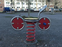 Bicycle Race (mkorsakov) Tags: dortmund nordstadt nordmarkt spielgerät federtier fahrrad bike bicycle rot red