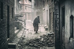 Fragile (Roberto Pazzi Photography) Tags: street people elderly outdoor woman cane bhaktapur one person old elder buildings culture city asia photography place asian ethnicity nepal full length nikon earthquake debris walking building