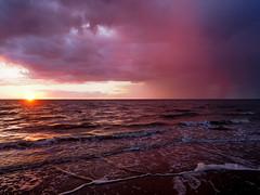 Hunstanton Pink Rain (bredmañ) Tags: hunstanton norfolk uk england britain sunset settingsun northsea coast beach cliffs olympus em1mkii 1240f28 colour rain pink handheld naturallight