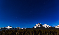 Orion and Canis Major over Mt. Temple (Amazing Sky Photography) Tags: banffnationalpark bowvalley canismajor march moonlight mounttemple mttemple orion rockymountains sirius nightscape stars winter