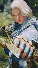 Artemia - At The Ready (DiamondbackVIII) Tags: elder scrolls v skyrim facepaint elf ears artemia bdo crowned eagle armor archer nocked arrow silver hair green eyes