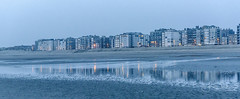lately one evening at the coast (filipmije) Tags: sea shore coast koksijde beach shoreline mirror reflection building belgium northsea evening bluehour