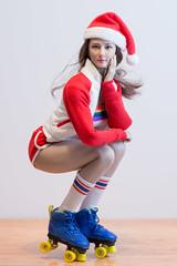 2018 Phicen/TBLeague Advent Calendar - Day 12 Outtake (edwicks_toybox) Tags: 16scale tbleague brunette femaleactionfigure flirtygirl phicen rollergirl rollerskates santahat seamlessbody shorts sunglasses tubetop