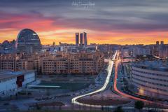 Madrid Trails (Andrés Domínguez Rituerto) Tags: madrid spain españa city sky skyline clouds sunset atardecer trails
