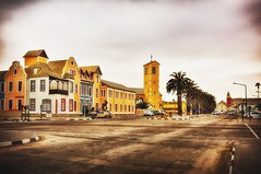 Swakopmund (cb|dg photo) Tags: buildings facade downtown streetphotography africa nambia holyrosaryparish church street cityscape city swakopmund