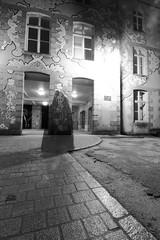 Le spectre de la Cour Carrée (Tonton Gilles) Tags: alençon normandie noir et blanc cour carrée de la dentelle fantôme spectre silhouette cape réverbère lampadaire autoportrait tonton gilles pose longue paysage urbain mise en scène