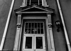 The Entrance To Barnwell College (that_damn_duck) Tags: nikon blackwhite monochrome architecture college barnwellcollege universityofsouthcarolina usc door window drainspout lightfixture bw blackandwhite