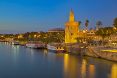La torre d'oro / Tower of gold (Seville, Andalusia, Spain) (AndreaPucci) Tags: seville andalusia spain torredeloro towerofgold guadalquivir night andreapucci