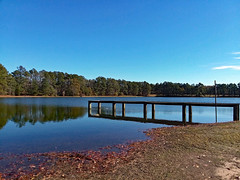 Fishermen's Dock. (dccradio) Tags: lumberton nc northcarolina robesoncounty outdoor outdoors outside nature natural pond water bodyofwater lake sky bluesky shore samsung galaxy smj727v j7v cellphone cellphonepicture park citypark lutherbrittpark tree trees landscape scenic december winter saturday morning goodmorning saturdaymorning reflection waterreflection dock pier fishermensdock flood flooded flooding floodwater wood wooden