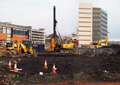 Adapted. (HivizPhotography) Tags: jcb roger bullivant piling rig precast concrete construction edinburgh housing infrastructure excavator heavy machine foundations