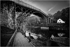 The ironbridge (Hugh Stanton) Tags: bridge river seven cottage reflection