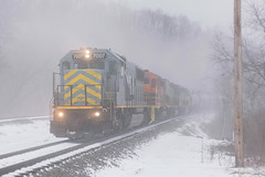 The Mist (Dan A. Davis) Tags: bp buffalopittsburgh geneseewyoming bprr gw sd50 sd402 sd40t2 freighttrain train railroad locomotive pennsylvania pa butler east