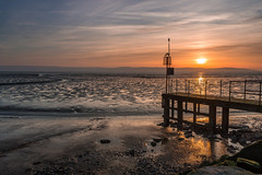 West Kirby sunset (Philip Brookes) Tags: sunset westkirby wirral beach sand water sun cloud sky jetty sea estuary deeside england britain unitedkingdom shore coast cirrus