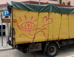 Marked Truck (cowyeow) Tags: sanpokong funny hongkong weird china chinese asia asian 香港 kowloon street parked vehicle traffic delivery urban yellow red heart love streetart graffiti truck