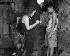 Trouble (Beegee49) Tags: street boy in trouble woman filipina blackandwhite monochrome bw happyplanet luminar sony a6000 bacolod city philippines asia asiafavorites