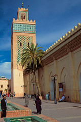 Historic minaret, Marrakesh, Morocco (Bokeh & Travel) Tags: marrakesh morocco architecture minaret islamic mosque colourful art kingdomofmorocco africa mediterranean